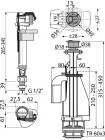 Арматура нижний подвод, 2кн,хром,SA08AS-1/2 AlcaPlast