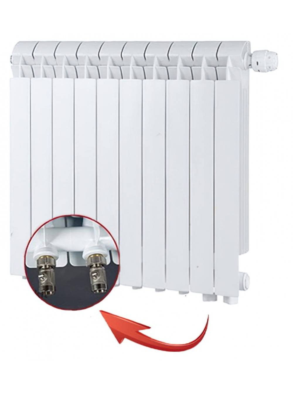 Алюминиевые радиаторы GLOBAL VOX-R нижнее правое подключение 500/95/12 сек