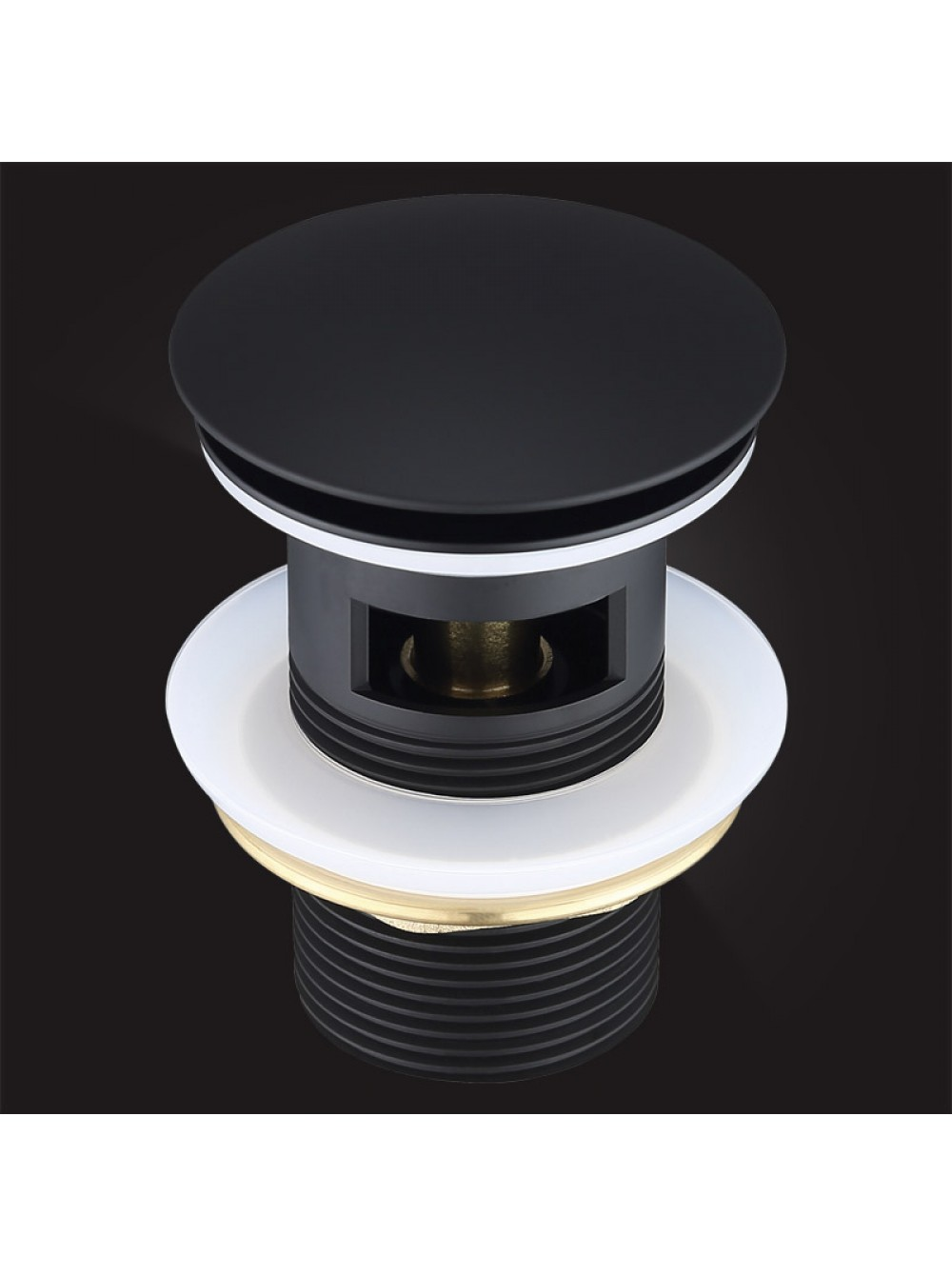 Донный клапан Elghansa WASTE SYSTEMS WBT-122-Black для раковины с переливом, черный