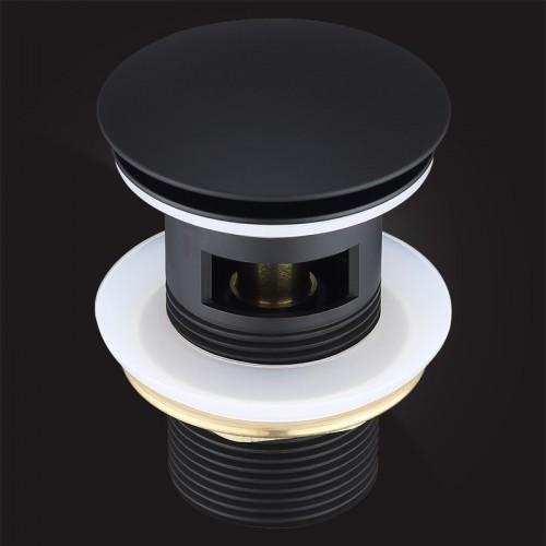 Донный клапан Elghansa WASTE SYSTEMS WBT-122-Black для раковины с переливом, черный купить в интернет магазине Санрай73