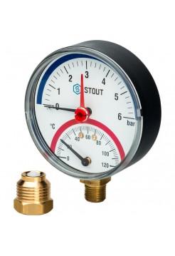Термоманометр радиальный 6bar/120C/80мм Stout