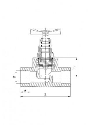 Вентиль проходной пластиковый Heisskraft 20 серый