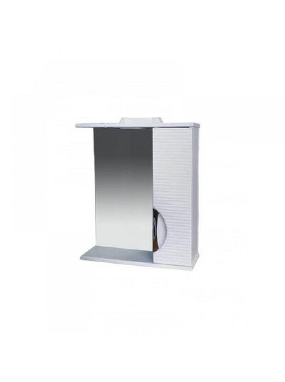 Зеркало-шкаф Джульетта-60 3D Волна (белый) ЛЕВЫЙ 600х650х150 СТК