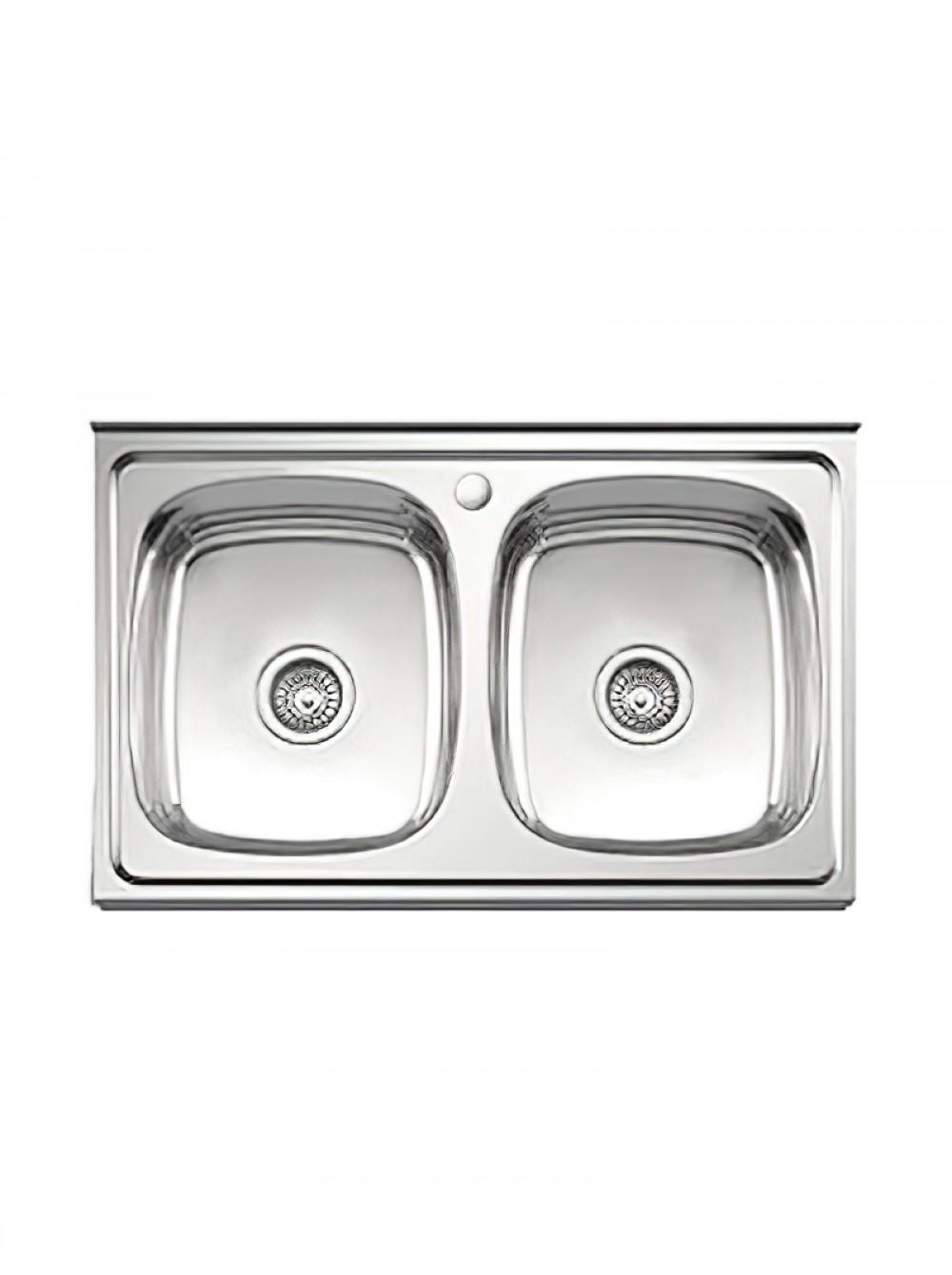 Мойка кухонная накладная 800х600мм 0,8мм ДВОЙНАЯ (две чаши) ГЛЯНЕЦ бол.сиф. Ledeme