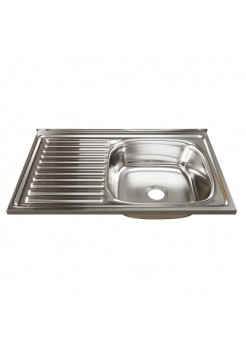 Мойка кухонная накладная 500х800мм 0,6мм правая MIXLINE