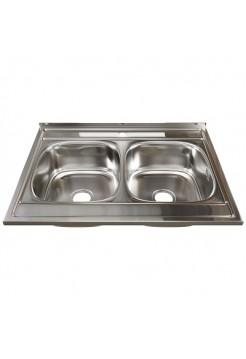 Мойка кухонная накладная 500х800мм 0,6мм 2-х чаш MIXLINE