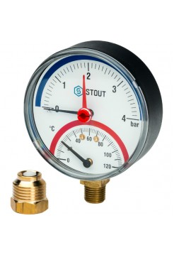 Термоманометр STOUT радиальный  с автоматическим  запорным кл. Dn 80 мм 1/2 дюйма SIM-0006-800415